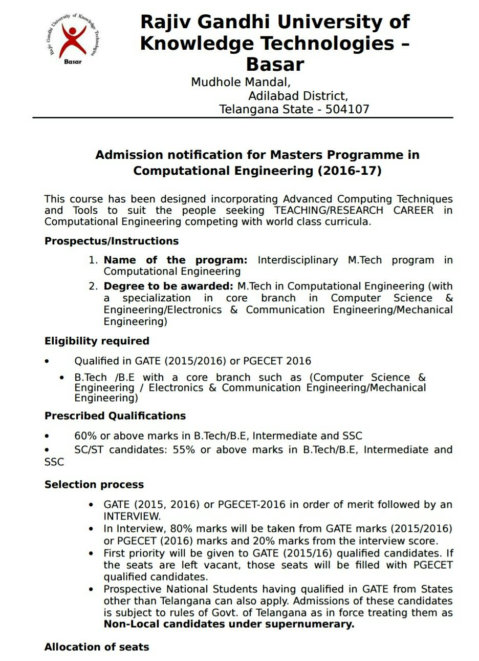 Ts Basar iiit M.Tech Admissions 2016-17