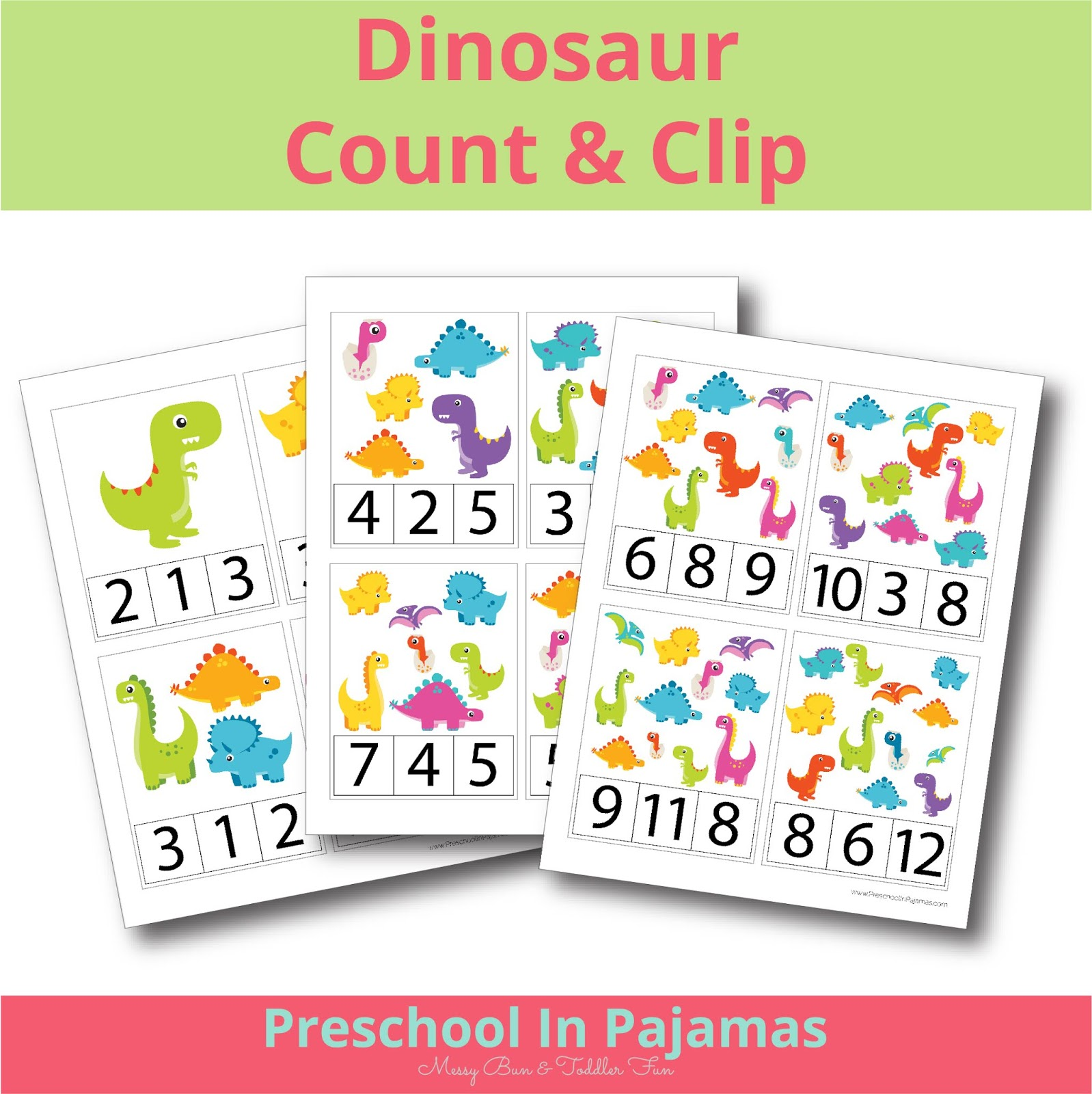 Free Dinosaur Count Amp Clip Printable Cards
