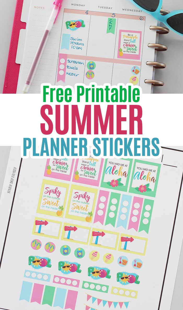 Free printable summer planner stickers fits the Happy Planner, Erin Condren, and more. Use your Cricut to make these cute planner stickers. Includes free printable quote stickers and more! #cricut #plannerstickers #plannercommunity #happyplanner