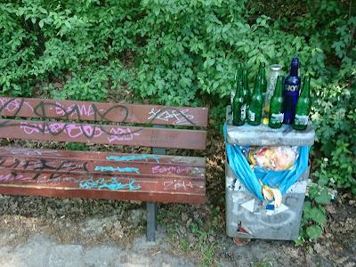 Reste einer Party am See Krumme Lanke. Eine Graffitti-beschmierte Bank und Alkoholflaschen aus dem Mülleimer.