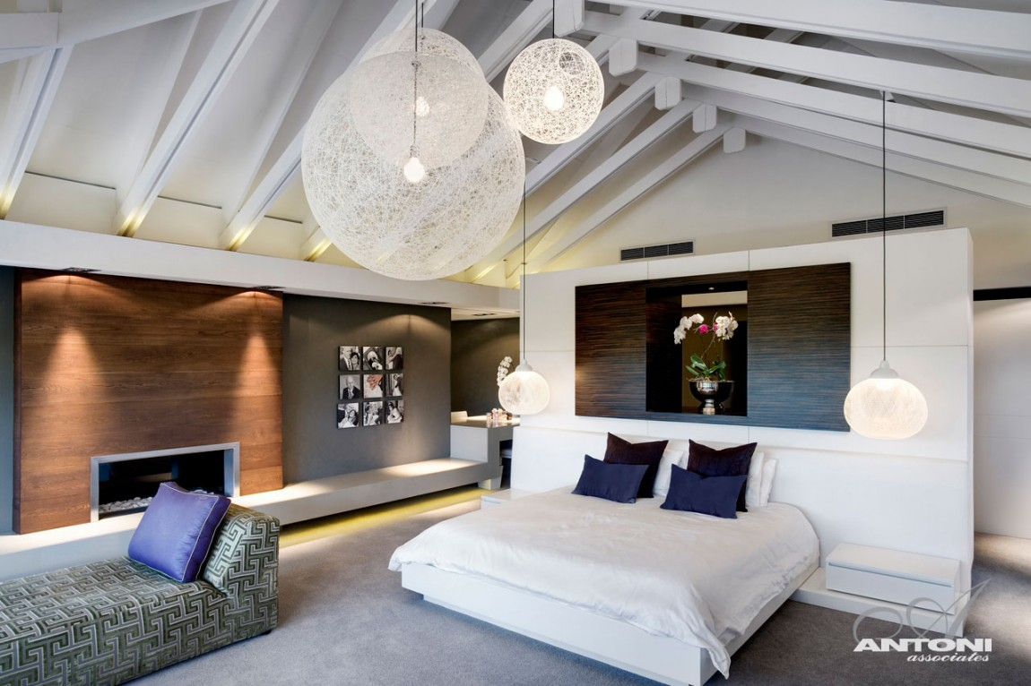 Modern attic bedroom with nice lighting architecture office antoni associates designed pearl valley 276 home with beautiful modern interiors