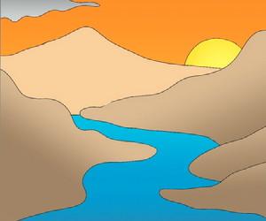 cara+menggambar+sungai+dan+pegunungan