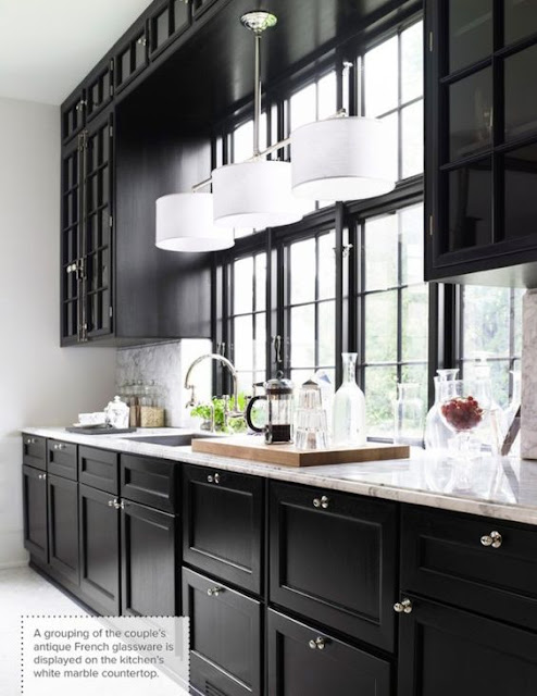 Black Kitchen Cabinets and white counters with big windows :: OrganizingMadeFun.com