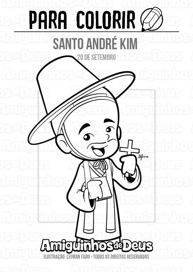 Santo André Kim desenho para colorir