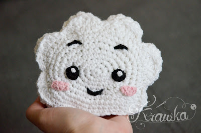Krawka: crochet cute cloud mini pillow kawaii style free pattern by Krawka
