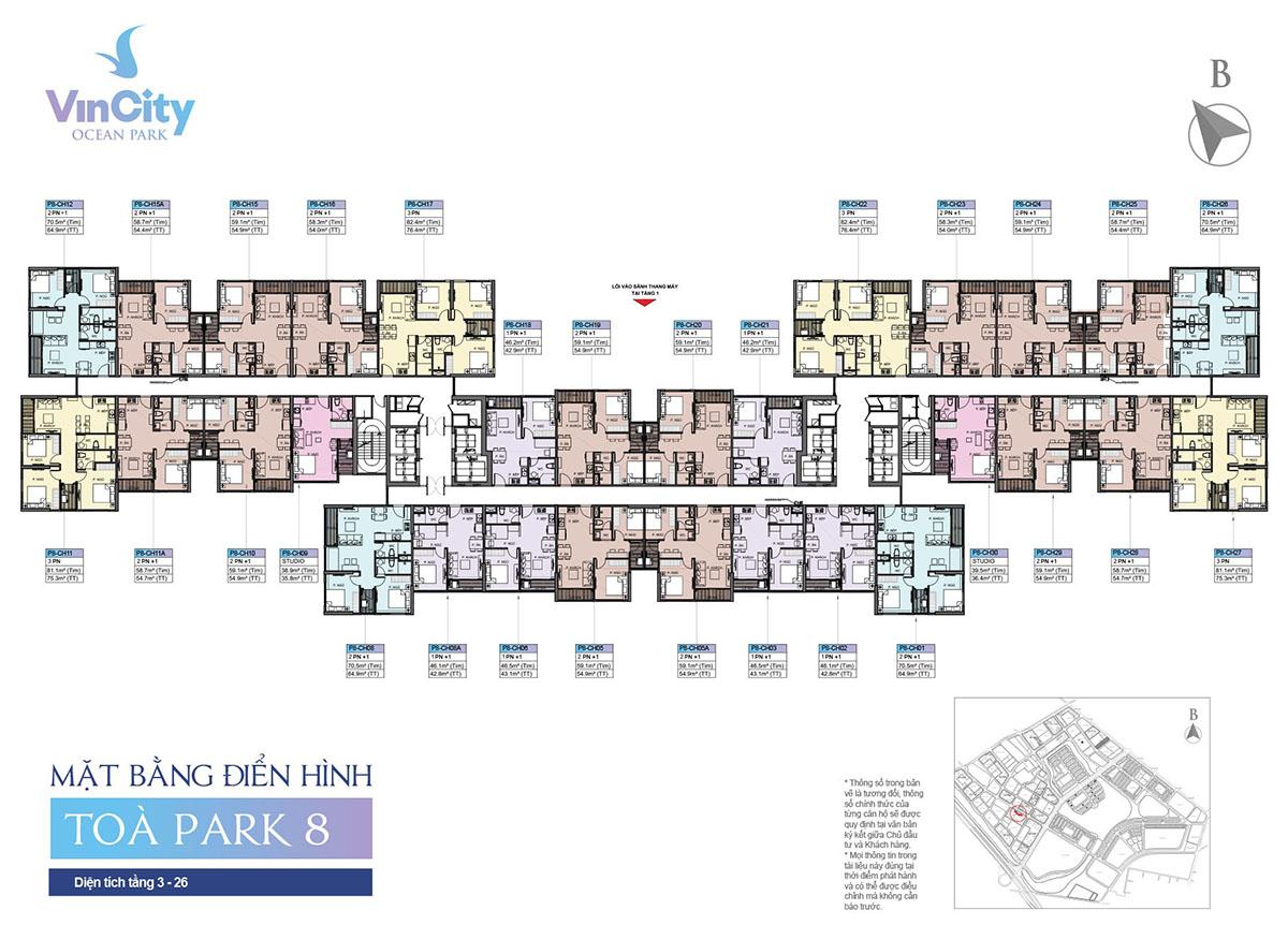 Mặt bằng Tòa Park 8 VinCity Gia Lâm