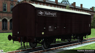 Fastline Simulation: This dia. 1/257 has been repainted in maroon livery and along with a VBB TOPS code the wagon has a white roof to help keep interior temperatures down when carrying chocolate for Rowntrees.
