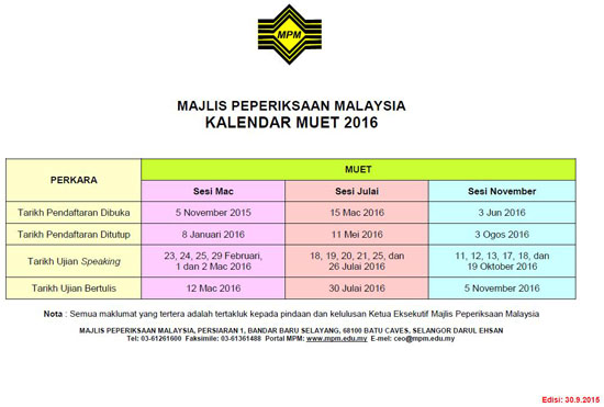 Kalendar Peperiksaan MUET 2016