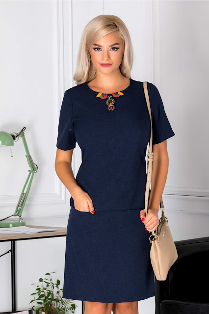rochie office albastra