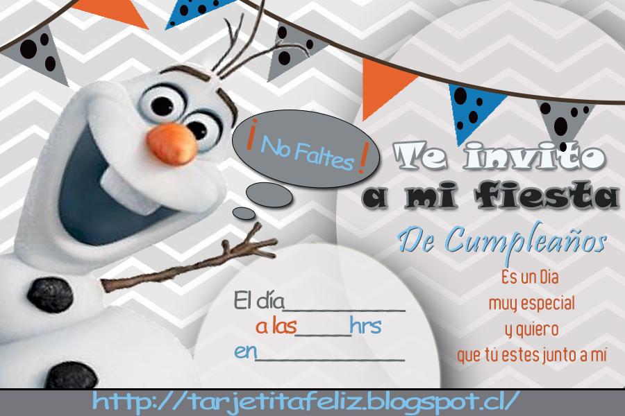 Tarjetas De Cumpleaños Para Imprimir Invitacion De Olaf Frozen