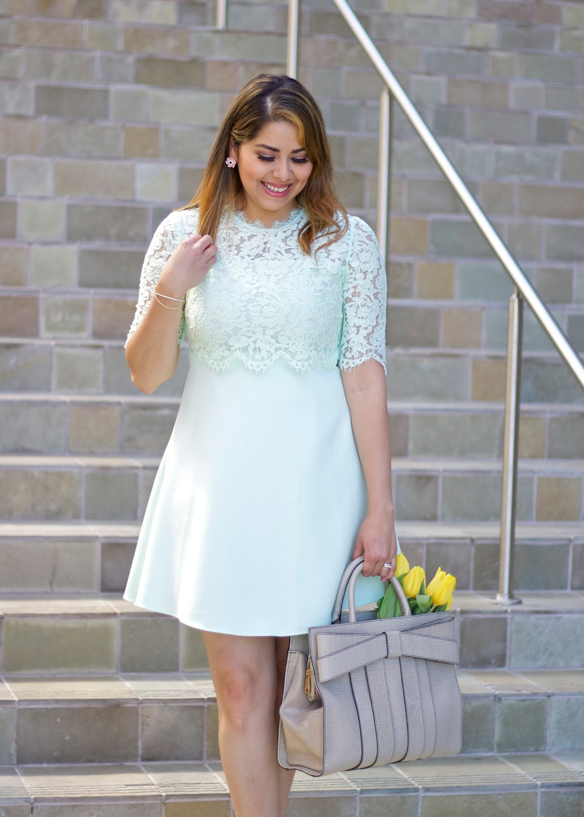 Mint green look, Spring 2016 outfit, delicate lace dress