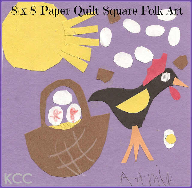 8 x 8 Quilt Square Pattern for Kids Chicken