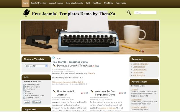 Free brown green writers joomla theme template for Free blogger templates for writers