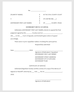 Notice of Appeal Template (Texas) (regular appeal)