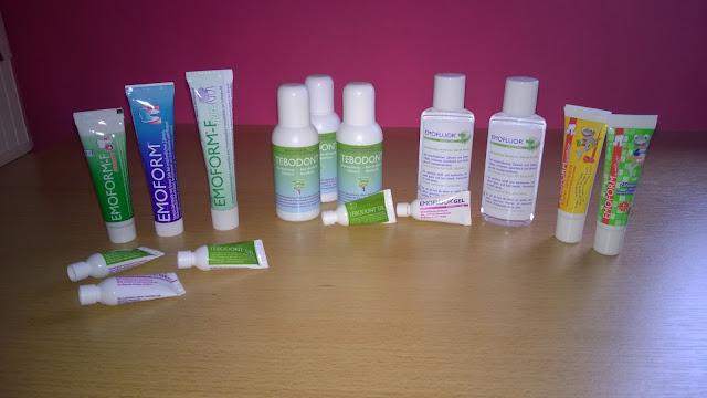 Viele verschiedene Zahnpflege Produkte.