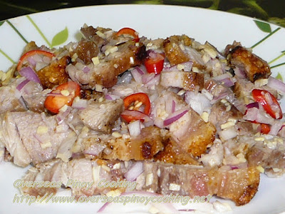 Insarabsab, Ilokano Broiled Pork Tossed with Ginger and Onion in Vinegar
