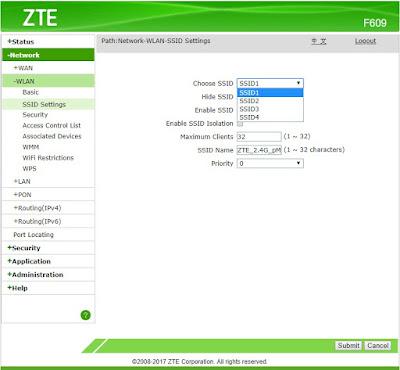 Pilihan SSID ZTE F609