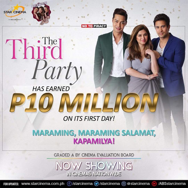 The Third Party earns P10 million on its opening day in cinemas