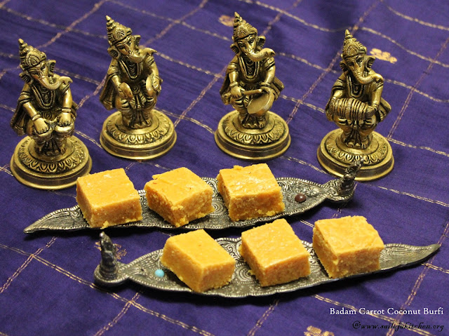 images of Badam Carrot Coconut Burfi / Almond Carrot Coconut Burfi