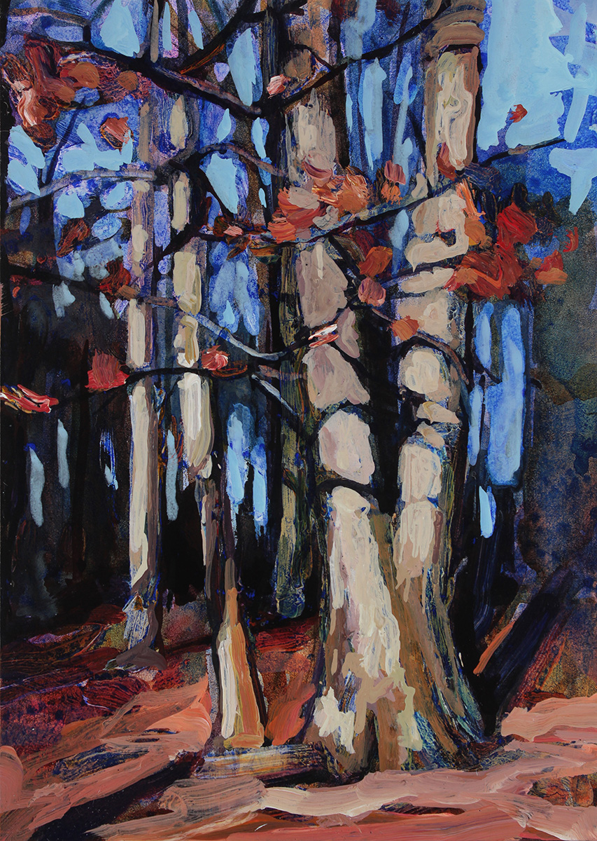 An acrylic painting of trees at Walton Woods located in Amherst NY.