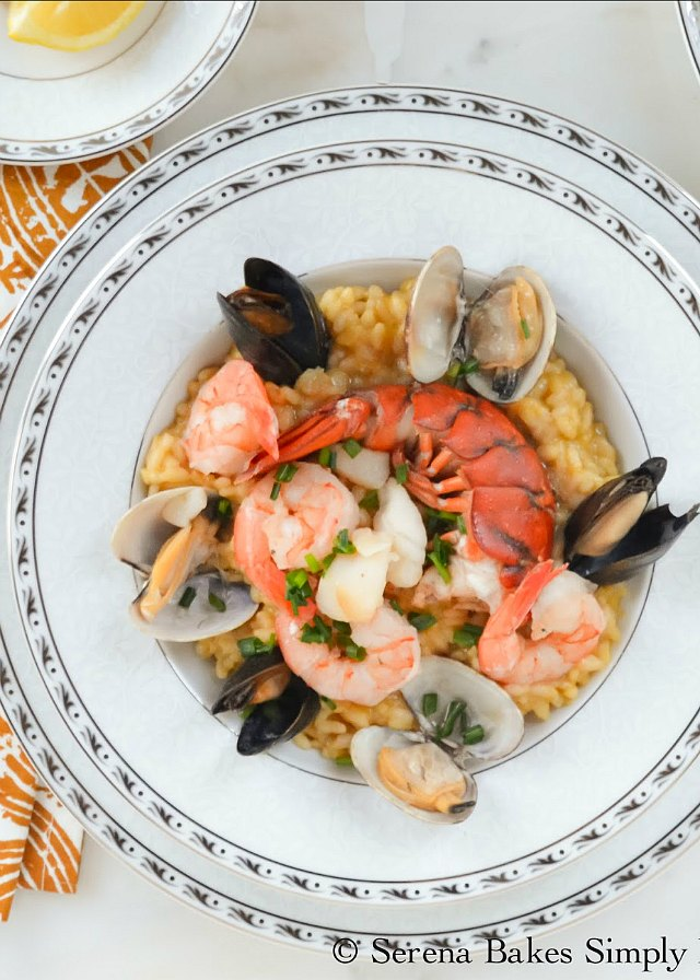 Creamy Seafood Risotto recipe with lobster, mussels, clams, shrimp and scallops from Serena Bakes Simply From Scratch.