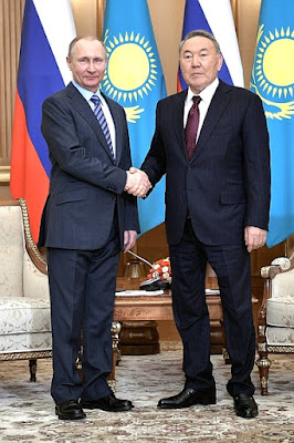 Vladimir Putin with Nursultan Nazarbayev.