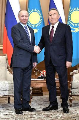 Vladimir Putin with Nursultan Nazarbayev.