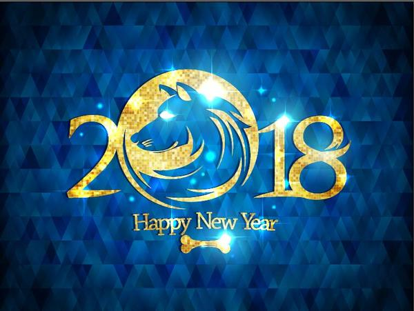 new year 2018 with dog and blue background free vector