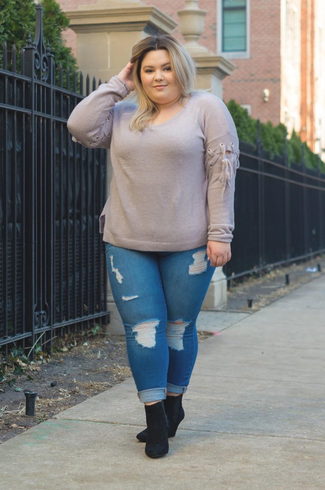 natalie craig, chicago fashion, chicago plus size fashion blogger, chicago model, plus size chicago model, affordable plus size fashion, eff your beauty standards, charlotte russe plus, plus size denim, tummy control panel, jeans with tummy control, embrace your curves, fatshion, body positive