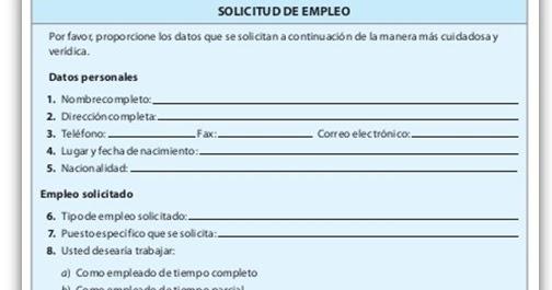 3.2.4 elaboración de la hoja de solicitud y curriculum vitae