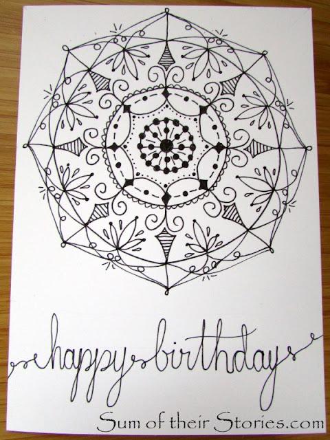 draw your own Mandala birthday card