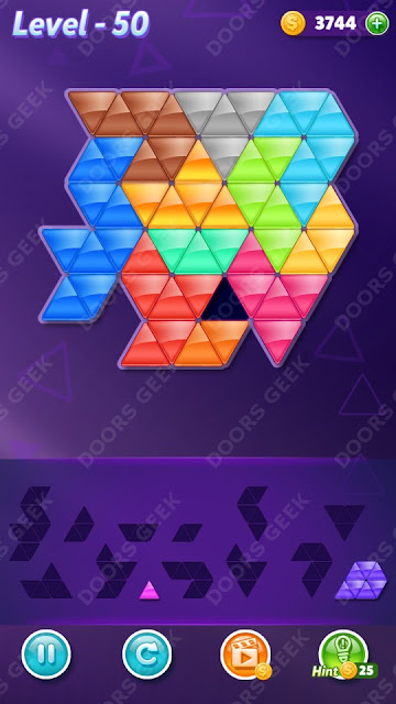 Block! Triangle Puzzle 12 Mania Level 50 Solution, Cheats, Walkthrough for Android, iPhone, iPad and iPod