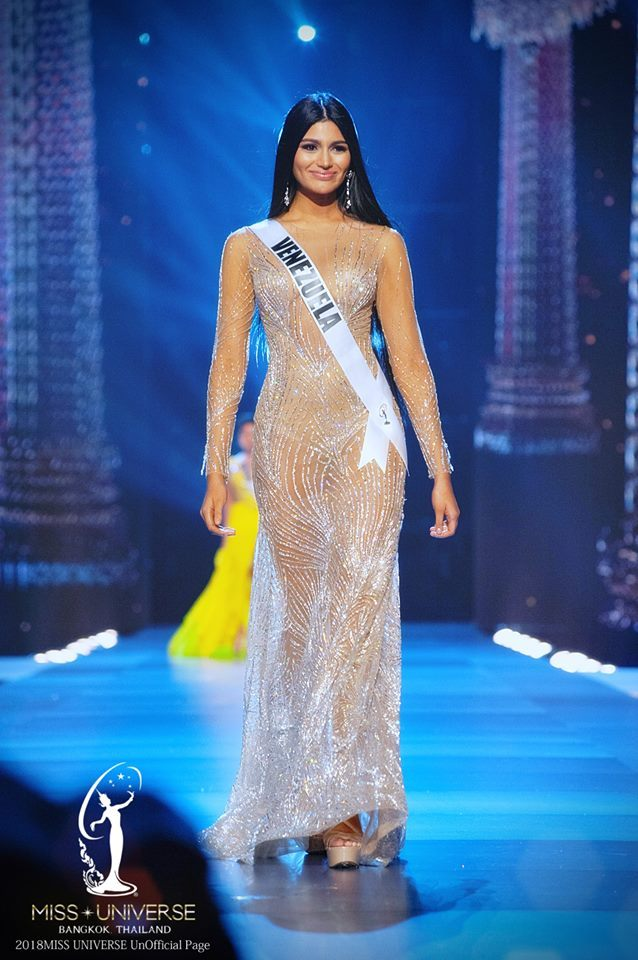 Miss Universe Venezuela Sthefany Gutierrez--Sthefany made her Evening Gown  appearance at the Miss Universe 2018 Preliminaries in a silver-nude gown  from ...