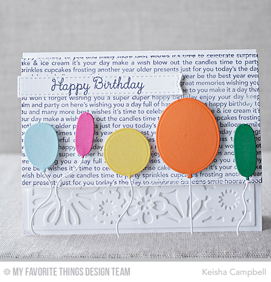 Birthday Balloons Card by Keisha Campbell featuring Lisa Johnson Designs You're the Sweetest stamp set, Happy Birthday Background stamp, and Birthday Balloons, Balloon STAX, and Floral Fusion Cover-Up Die-namics #mftstamps