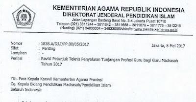 Revisi Juknis Penyaluran TPG Guru Madrasah Kemenag Tahun 2017