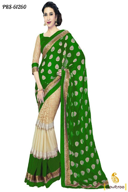 Karishma Kapoor Special green net bollywood saree for daily office wear online collection at low cost