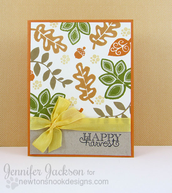 Happy Harvest Fall Leaf Card by Jennifer Jackson for Newton's Nook Designs | Falling into Autumn Stamp Set