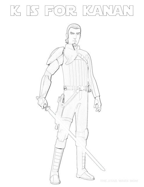 K is for Kanan Jarrus, the cowboy Jedi of Star Wars Rebels. Alphabet coloring sheet..