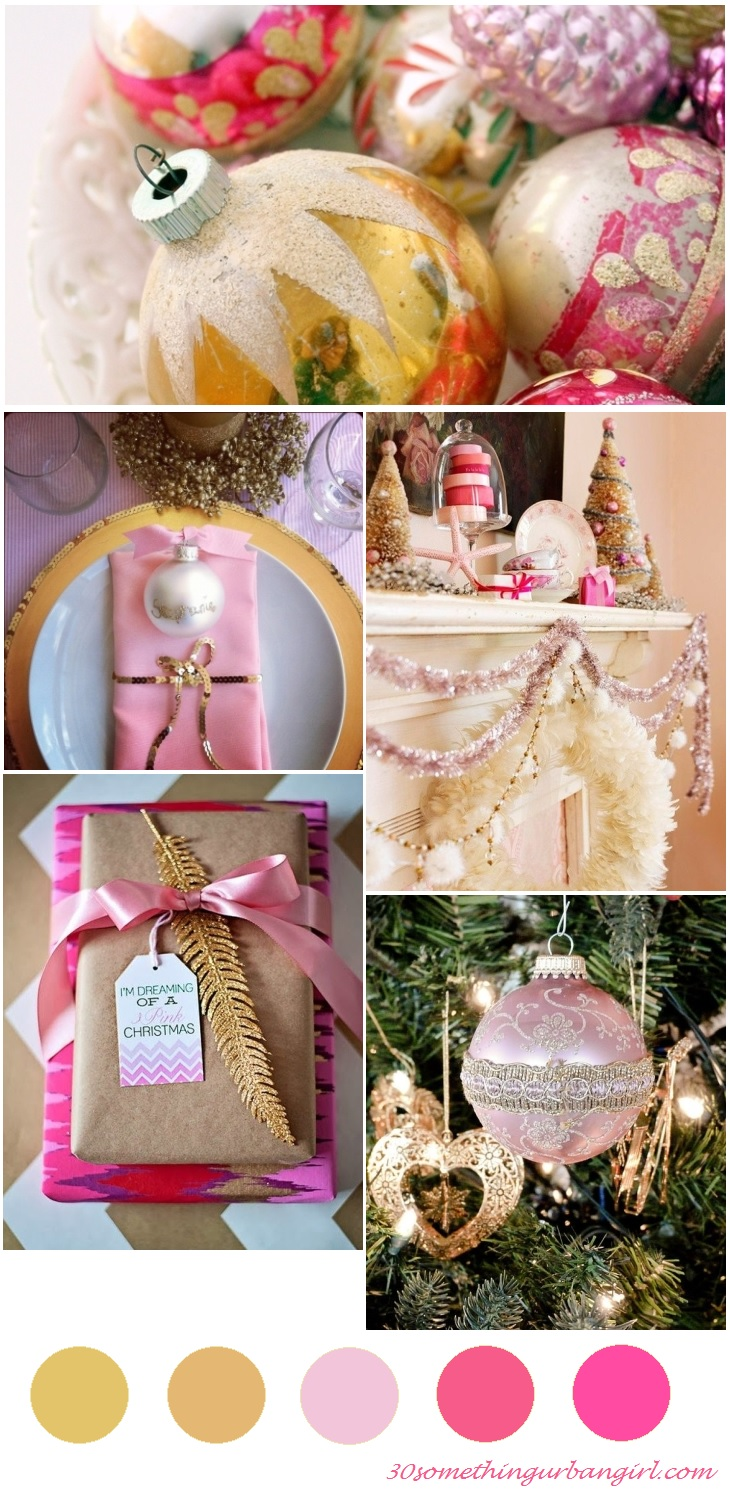 warm and bright Christmas color palette - pink and gold