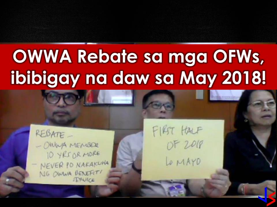 In his Facebook Live last March 23, Cacdac said, OFWs who have been OWWA members for the past 10 years and have not availed of any OWWA programs will be entitled to the said rebates. Cacdac said the agency hired an actuary to study and analyze the statistic to calculate the rebate risk and premiums.