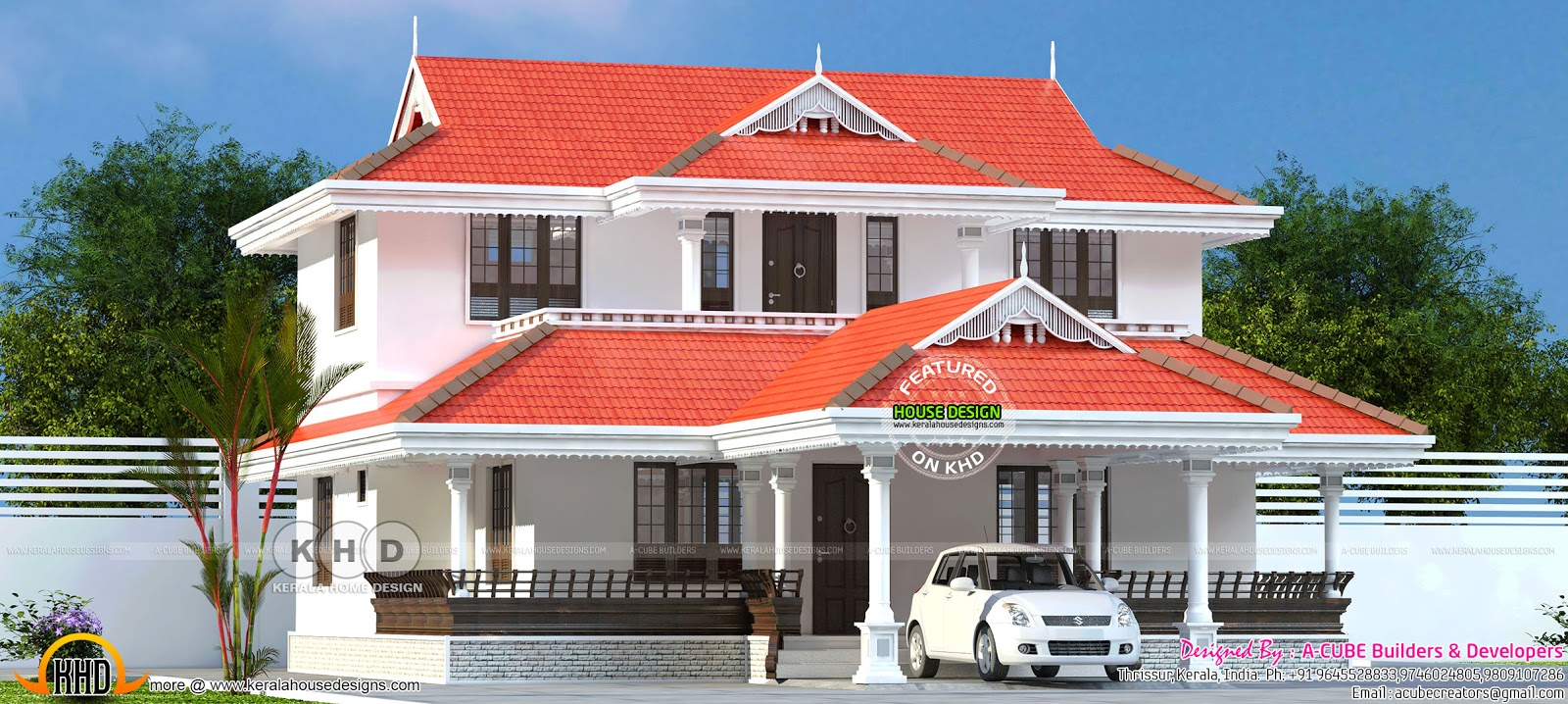 2145 square feet typical kerala model sloped roof home for Typical house design
