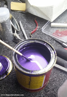 Metallic purple nitrocellulose paint