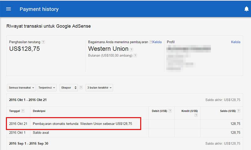 Pembayaran otomatis tertunda: Western Union
