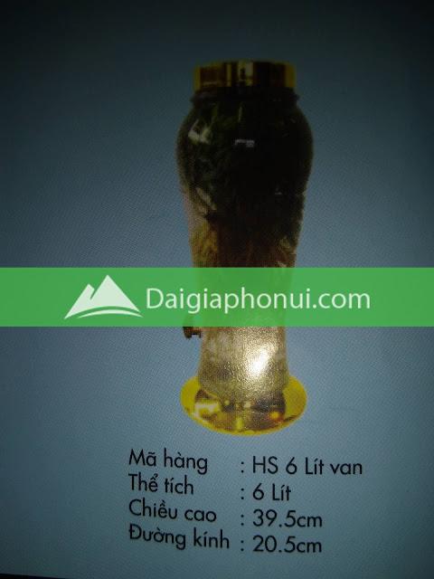 thông số bình ngâm rượu Phú Hoà mã số HS 6 LÍT VAN/VÒI