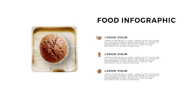 Food Infographic Pie Chart Elements for Powerpoint Template with Tray
