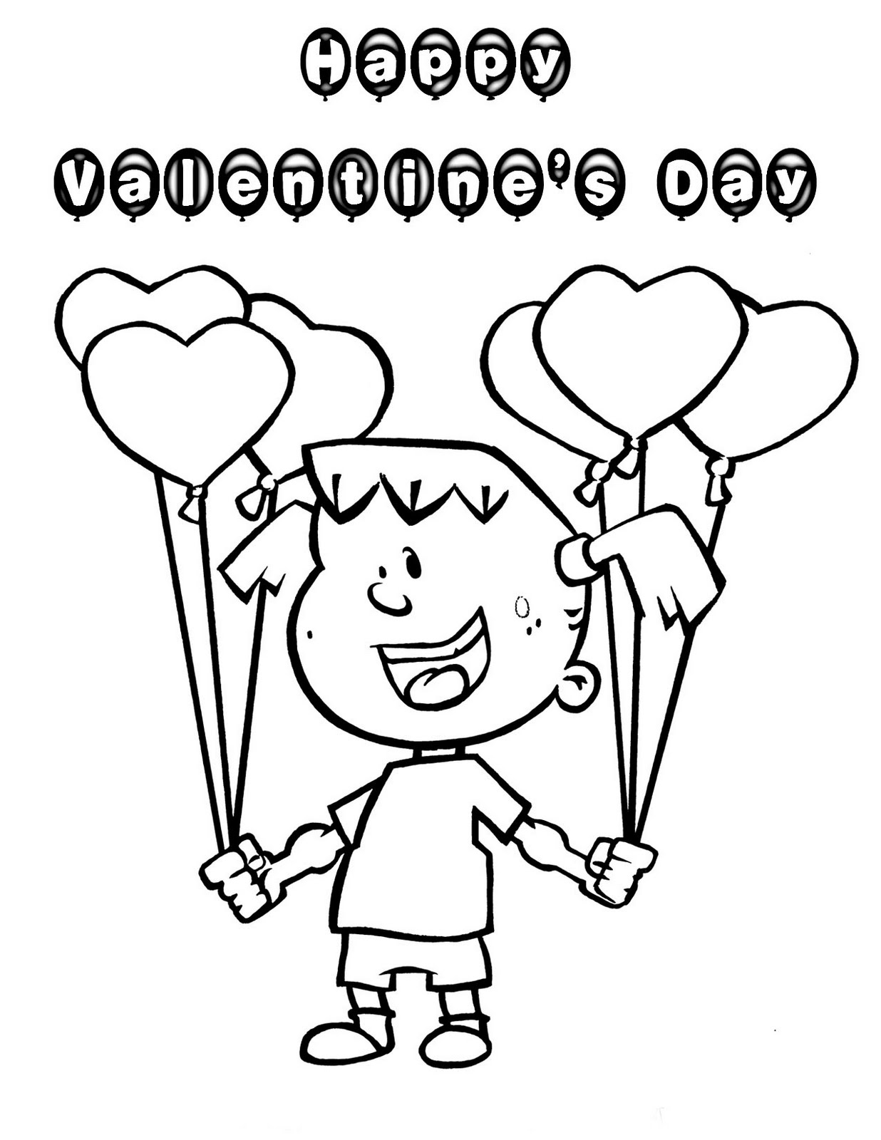 Valentine Love Balloons Coloring Pages