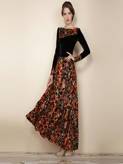 Model Long Dress Batik Kombinasi Sifon
