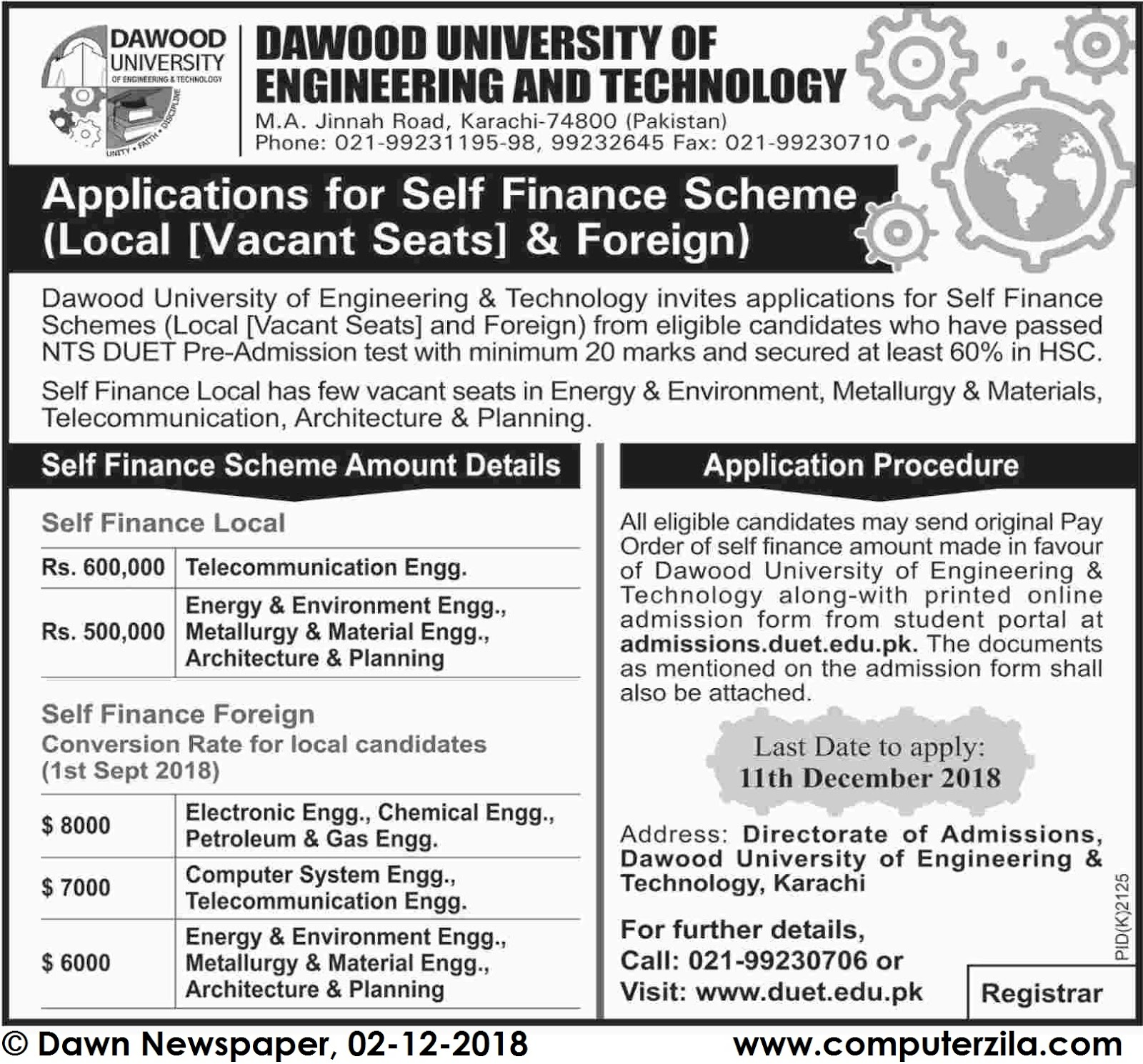 Admissions Open For Spring 2019 At DUET Karachi Campus