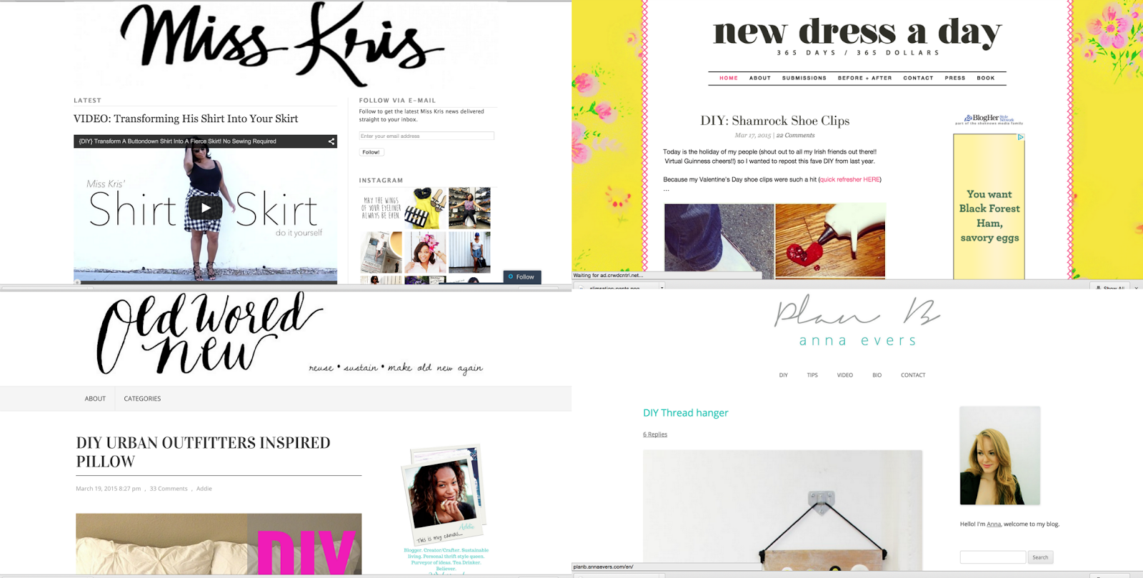 refashion bloggers miss kris turner, new dress a day, old world new, plan b anna evers