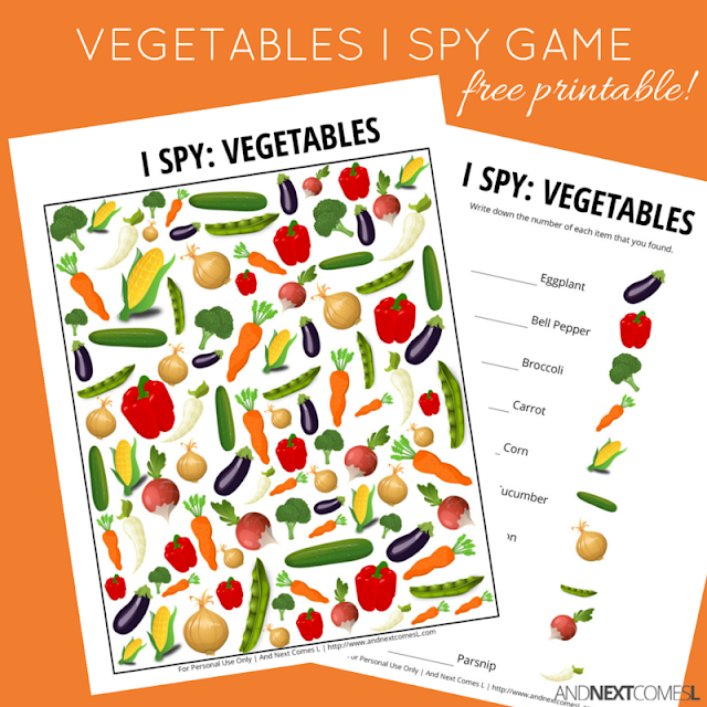 Vegetables Themed I Spy Game Free Printable For Kids